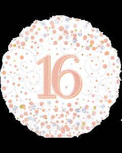 16th Sparkling Fizz Birthday White und Rose Gold Holographic Folienform Rund 18in/45cm