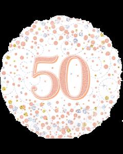 50th Sparkling Fizz Birthday White & Rose Gold Folie Rund 18in/45cm