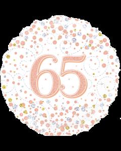 65th Sparkling Fizz Birthday White & Rose Gold Folie Rund 18in/45cm