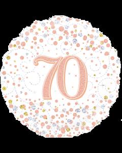70th Sparkling Fizz Birthday White & Rose Gold Folie Rund 18in/45cm