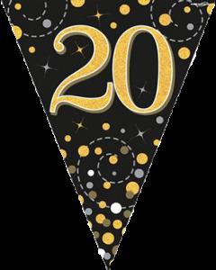 Sparkling Fizz 20 Black und Gold Holographic Wimpel-Girlande 3.9m