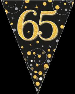 Sparkling Fizz 65 Black und Gold Holographic Wimpel-Girlande 3.9m