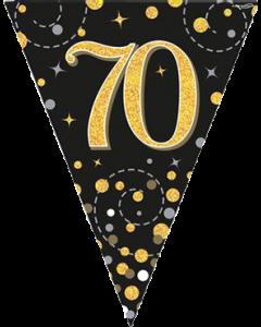 Sparkling Fizz 70 Black und Gold Holographic Wimpel-Girlande 3.9m