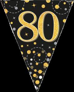 Sparkling Fizz 80 Black und Gold Holographic Wimpel-Girlande 3.9m