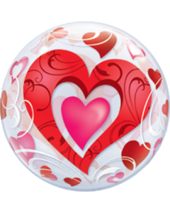 Red Hearts und Filigree Single Bubble 22in/55cm
