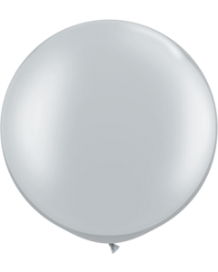 Metallic Silver Latexballon Rund 30in/75cm