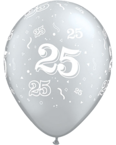 25 Metallic Silver Latexballon Rund 11in/27.5cm