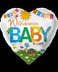 Willkommen Baby Folienform Herz 17in/43cm