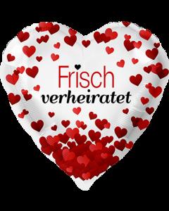Frisch verheiratet Herzen Folienform Herz 17in/43cm