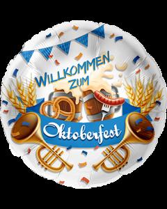 Willkommen zum Oktoberfest Folienform Rund 28.5in/71cm