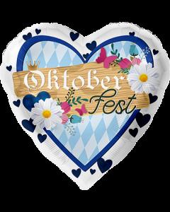 Oktoberfest Flagge Folienform Herz 17in/43cm