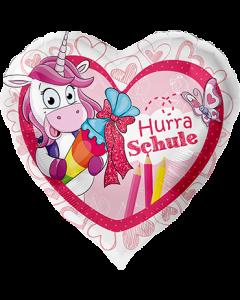Hurra Schule Einhorn Folienform Herz 17in/43cm
