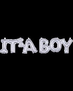 It's A Boy Schriftzug Silver Holographic 35in/88cm