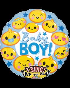 Emoticon Baby Boy Sing A Tune Folienform Rund 28in/71cm