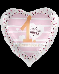 1 Geburtstag Hearts Satin Folienform Herz 17in/43cm