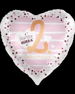 2 Geburtstag Hearts Satin Folienform Herz 17in/43cm