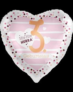 3 Geburtstag Hearts Satin Folienform Herz 17in/43cm