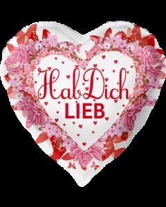 Hab Dich Lieb Folienform Herz 28.5in/71cm