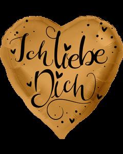 Ich Liebe Dich Gold Folienform Herz 28.5in/71cm
