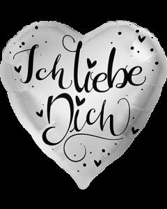 Ich Liebe Dich Silber Folienform Herz 28.5in/71cm