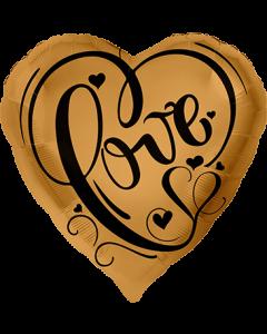 Love Gold Folienform Herz 17in/43cm