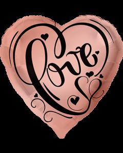 Love Rose Gold Folienform Herz 17in/43cm