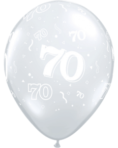 70 Crystal Diamond Clear (Transparent) Latexballon Rund 11in/27.5cm