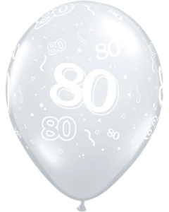 80 Crystal Diamond Clear (Transparent) Latexballon Rund 11in/27.5cm