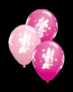 Disney Baby Minnie Stars Standard Pink und Fashion Wild Berry Sortiment Latexballon Rund 11in/27.5cm