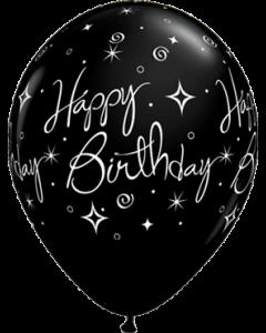 Birthday Elegant Sparkles und Swirls Fashion Onyx Black Latexballon Rund 11in/27.5cm
