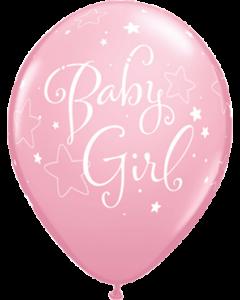 Baby Girl Stars Standard Pink Latexballon Rund 11in/27.5cm