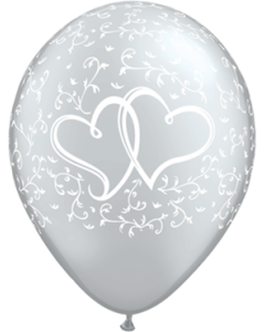 Entwined Hearts Metallic Silver Latexballon Rund 11in/27.5cm