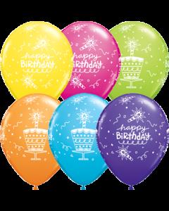 Birthday Cake und Candle Retail Sortiment Latexballon Rund 11in/27.5cm