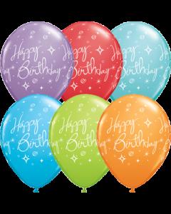 Birthday Elegant Sparkles und Swirls Retail Sortiment Latexballon Rund 11in/27.5cm
