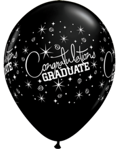 Congratulations Graduate Fashion Onyx Black Latexballon Rund 11in/27.5cm