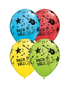 Rock und Roll Stars Standard Red, Standard Yellow, Fashion Robins Egg Blue und Fashion Lime Green Sortiment Latexballon Rund 11in/27.5cm