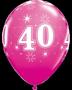 40 Sparkle Fashion Wild Berry Latexballon Rund 11in/27.5cm