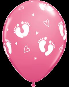 Baby Footprints und Hearts Fashion Rose Latexballon Rund 11in/27.5cm
