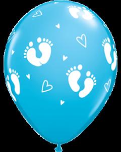 Baby Footprints und Hearts Fashion Robins Egg Blue Latexballon Rund 11in/27.5cm