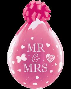 Mr und Mrs Crystal Diamond Clear (Transparent) Latexballon Rund 18in/45cm