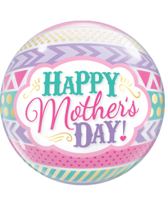 Mother's Day Dots und Stripes Single Bubble 22in/50cm