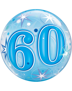 60 Blue Starburst Sparkle Single Bubble 22in/55cm