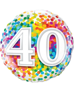 40 Rainbow Confetti Folienform Rund 18in/45cm
