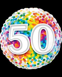 50 Rainbow Confetti Folienform Rund 18in/45cm