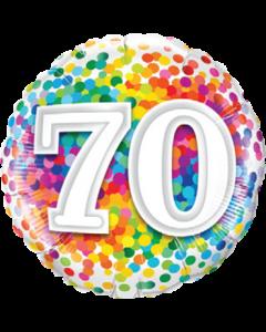 70 Rainbow Confetti Folienform Rund 18in/45cm