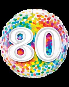 80 Rainbow Confetti Folienform Rund 18in/45cm