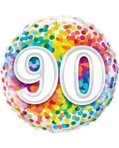 90 Rainbow Confetti Folienform Rund 18in/45cm