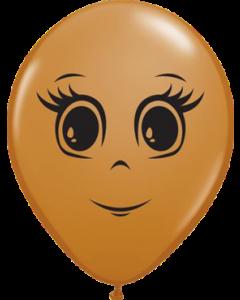 Feminine Face Fashion Mocha Brown Latexballon Rund 5in/12.5cm