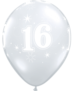 16 Sparkle Crystal Diamond Clear (Transparent) Latexballon Rund 11in/27.5cm