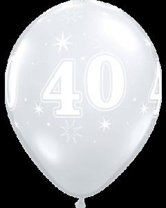 40 Sparkle Crystal Diamond Clear (Transparent) Latexballon Rund 11in/27.5cm